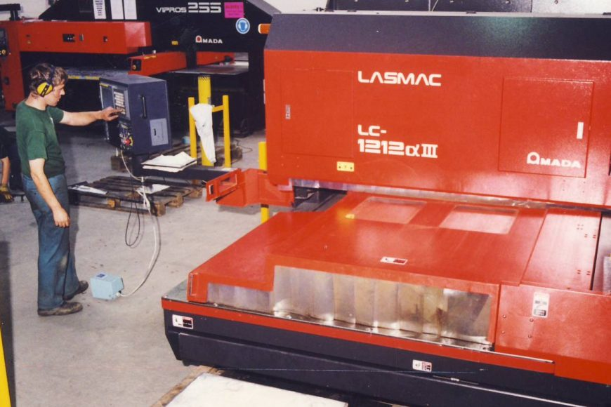 Greenfield installed its first Amada Laser the LC1212 Alpha and the first automation was added to the Vipros 255 turret punch the MP250 M Auto Sheet Loader + LKI PRII part remover.